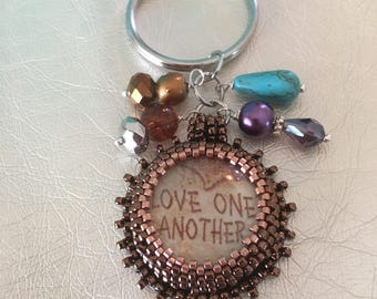 Key chain jewelry.  Copper pendant.  Love one another.