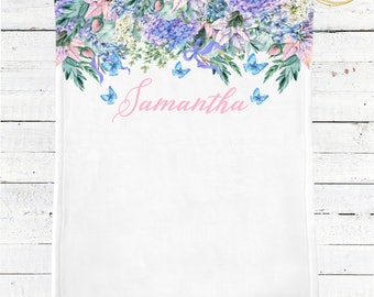 Personalized Baby Blanket / Name Baby Blanket / Custom Baby Blanket / Baby Shower Gift Girl / Whimsical Baby Shower / Floral Baby Blanket