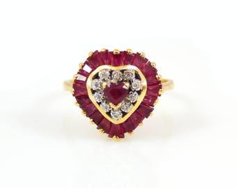 14K Ruby & Diamond Heart Ring - X4475