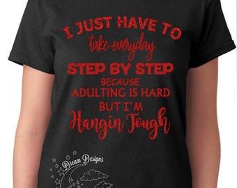 NKOTB glitter shirt, hangin tough, step by step, adulting is hard, new kids on the block fan shirt