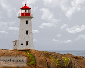 Peggy's Cove Lighthouse, Nova Scotia, Canada, Landscape Print Photograph, Wall Decor