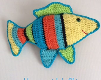 Crochet blanket handmade House fish Amigurumi multicolor