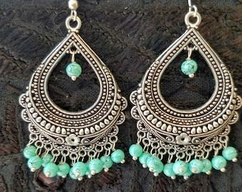 Drop earrings India silver color with faux turquoise beads Filigree earrings hoop ethnic earrings boho Afghan tribal earrings gifts for her
