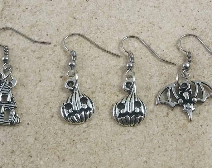 Halloween earring set, pumpkin earrings, bat earrings, halloween jewelry, fantasy jewelry set, Dangle Earrings , Halloween Earrings, gifts