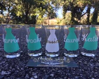 Personalized Shot Glasses, Bridesmaid shot glasses, Wedding Shot Glasses, Custom Shot Glasses, Bachelorette Party, Custom Shot Glasses