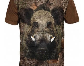 New ultramodern 3D  High Quality Boar Hunting Forest Men's Brown T-shirt