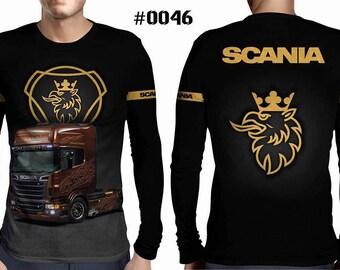 New ultramodern 3D  High Quality  Mens  Long Sleeve Black T-shirt SCANIA