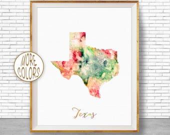 Texas Map Art Print Texas Art Print Texas Decor Texas Print Map Artwork Map Print Map Poster Watercolor Map Office Art Print ArtPrintZone