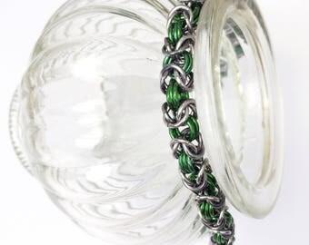 Chainmaille bracelet, byzantine bracelet, blue bracelet, natural chainmail bracelet, green bracelet, blue bracelet, Tessa's chainmail