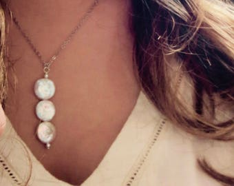 Genuine White Coin Pearl Necklace Pearl Necklace