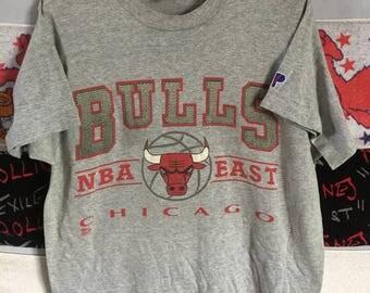 VINTAGE!! Chicago Bulls Nba Crew Top Tee Pro Player