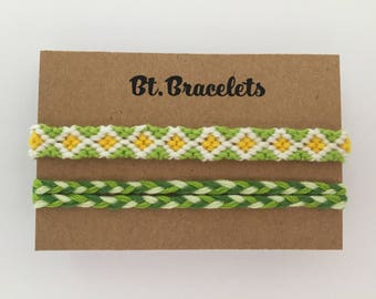 Set two friendship straps bracelets green/yellow 2.00