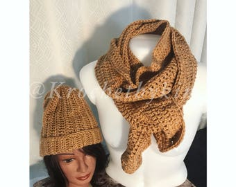 Crochet hat and scarf set/ Winter hat and scarf set/ Fall hat and scarf set/ Hat and scarf set