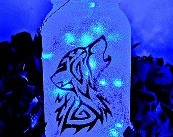 Wolf Head LED Mason Jar Light