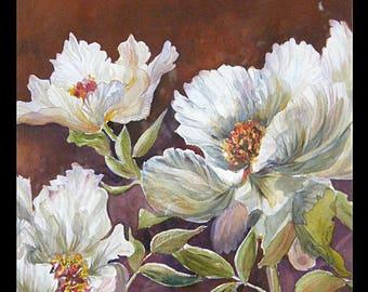 Tableau contemporary, modern, watercolor, white peonies