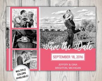 Save the date postcard | Save the date with photos | 5x7 Save the Date | Digital Download | Engagement Photos Save the Date