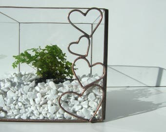 Terrarium, mini glass - tiffany stained glass, stained glass terrarium - mini Gewaechshaus technique