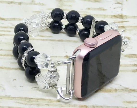 """Apple Watch Band, Women Bead Bracelet Watch Band, iWatch Strap, Apple Watch 38mm, Apple Watch 42mm, Classic Black, Clear Sizes 7 3/4"""" - 8"""""""