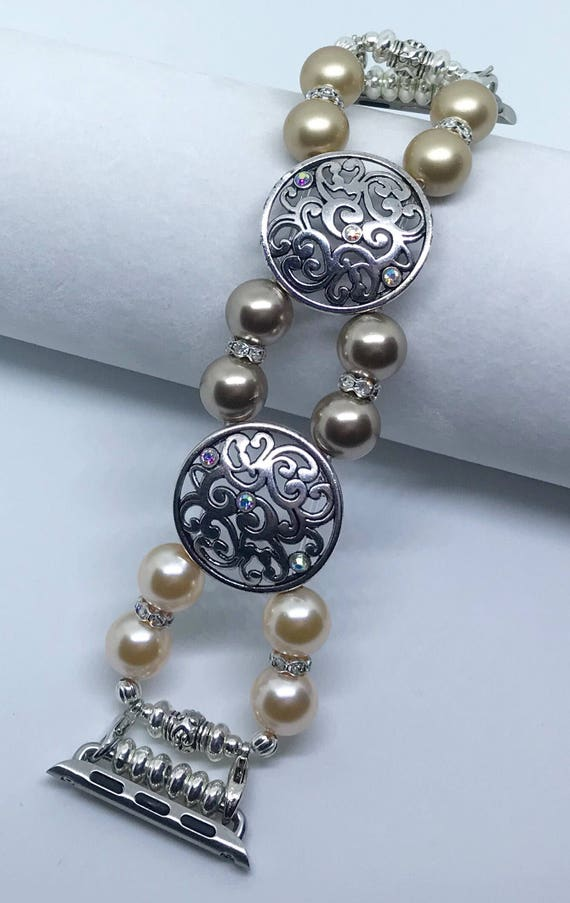 "Apple Watch Band, Bead Bracelet Watch Band, iWatch Strap, Apple Watch 38mm, 42mm, Gold Bronze Peach Swarovski Pearls Silver Metal 6 1/4"""