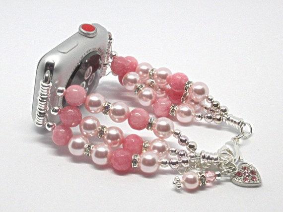 "Pink Pearl/Jade 7"" to 8"", ADJUSTABLE APPLE WATCH Band, Women Bead Bracelet, iWatch Strap, Apple Watch 38mm, 42mm (Cust"