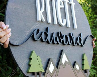 "24"" Round Landscape  PNW w/ Trees Custom Name Wood Sign 