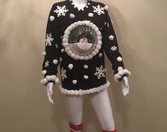 "Hand Made Ugly Christmas Sweater ""Snow Globe"" Assorted Sizes"