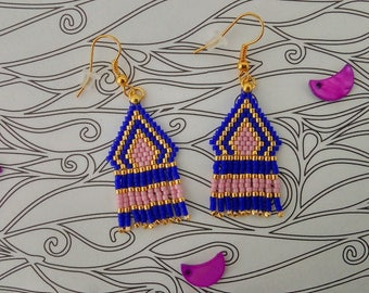 Brickstitch with fringe earrings