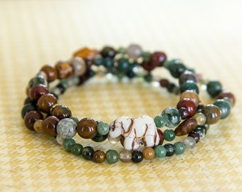 Trio of bracelets boho chic elephant, glass beads and agates natural 15-19cm