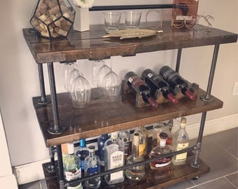 Industrial Bar Cart - Rustic - Handmade - (Long Back Rail)