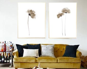 Poppy poster Poppy Beige poppy wall art Poppy watercolor painting Poppy art print Poppy Set 2 Poppies Abstract flower poppy minimalist