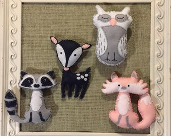 Woodland Animal Stuffies - Pink, Grey, White and Navy
