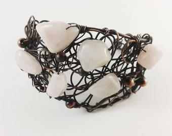 Rose quartz cuff bracelet copper wire bracelet wire wrapped jewelry rose quartz bracelet modern bracelet statement bracelet unique handmade