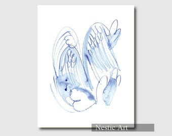 Angle / wings, blue, watercolor painting, line art, printable art, 5x7, 8x10, 8.5x11, letter size, 11x15, instant download, Christmas