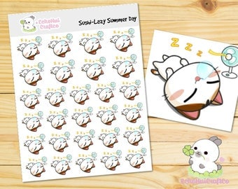 Lazy Summer Day/ Lazy Day Sushi the Cat Emotions/Emoji Planner Stickers