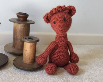 Cinnamon the alpaca. Cute, cuddly, handmade crochet stuffed animal, toy, doll