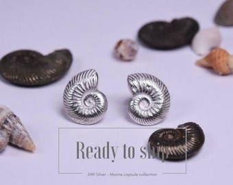 Sterling silver ammonite stud earrings