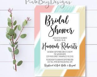 Pastel Brush Bridal Shower Invitation, Pastel Bridal Shower Invite, Brush Stroke Bridal Shower Invite, Stripe Bridal Shower, Shower Invite