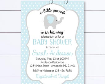Elephant Baby Shower Invitation, Little Peanut Elephant Boy Baby Shower Invite, Boy Baby Shower, Blue and Grey Elephant Baby Shower