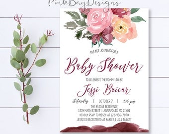 Watercolor Floral Baby Shower Invitation, Burgundy Floral Baby Shower Invitation, Baby Shower Invite, Fall Baby Shower Invitation, Invite