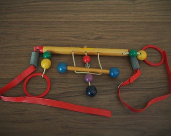 Vintage Cradle Gym Right Time Toy 50s wooden infant baby