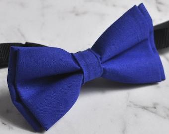 Unisex Men 100% Cotton Quality Indigo Royal Blue Solid Color Handmade Bow Tie Bowtie Craft Wedding Party