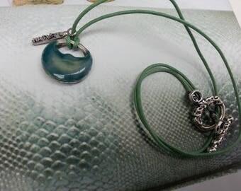 Choker necklace with dark green ceramic pendant