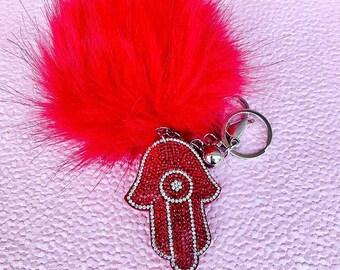 Red Hamsa Keychain with puff