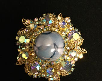 D& E JULIANA  Blue  Cabachon  Matrix Brooch