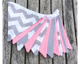 Pink & grey chevron fabric bunting, nursery bunting, baby girl bunting, nursery decor, baby shower, newborn, children's decor