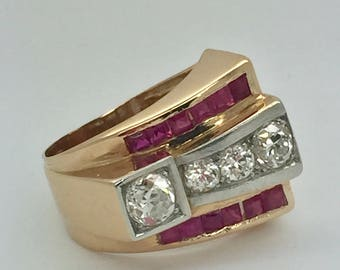 Retro Ruby / Diamond Ring