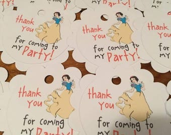 12 Disney Inspired Snow White Party Thank You Tags