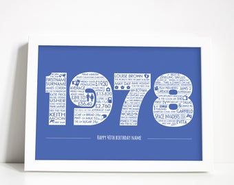 Personalised 40th Birthday 1978 print, UK, Personalized gift, A4 print