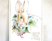 Rabbit in seasonal holly holiday cards