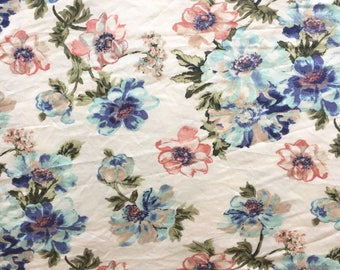 1 3/4 Yard Knit Fabric, Jersey Knit Fabric, Fabric by the Yard, Stretch Fabric, Floral Fabric - White & Blue Floral